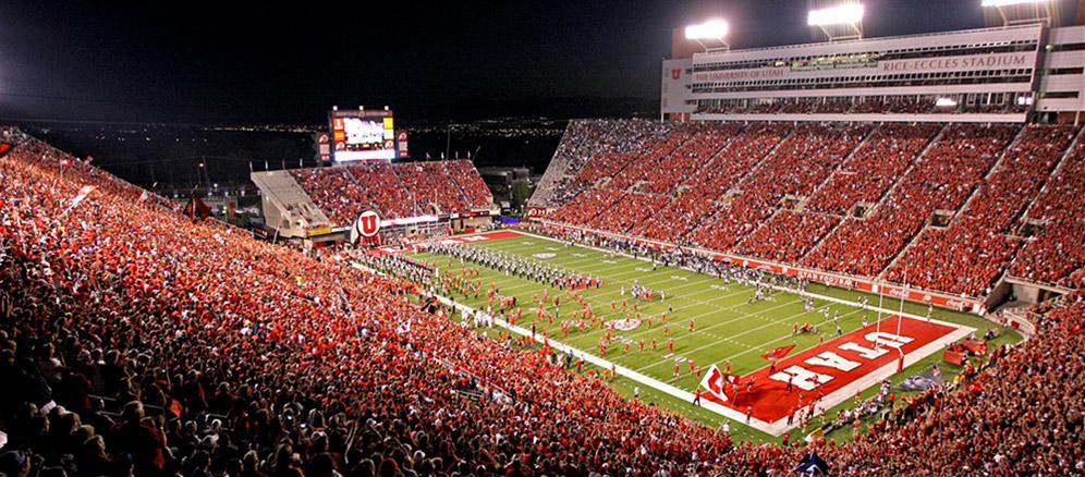 Utah Football field with packed stadium