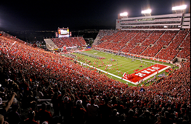 Utah Football field with packed stadium